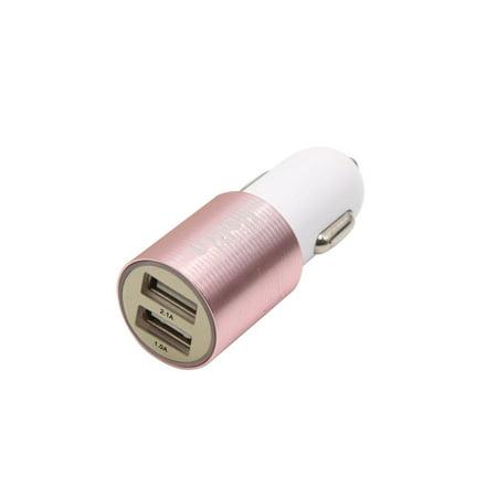 Rose Cigarette (Aluminum Alloy DC 12V 24V Car Dual USB Port Charger Cigarette Lighter Adapter Rose Gold)
