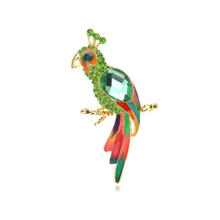 Peridot Green Crystal Rhinestone Beaded Parrot Bird Costumer Jewelry Brooch - Wood Bird Brooch