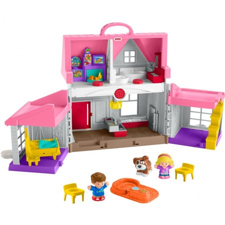 Little People Big Helpers Home, Pink, with Emma, Jack & Dog - Fisher Price Little People Farm