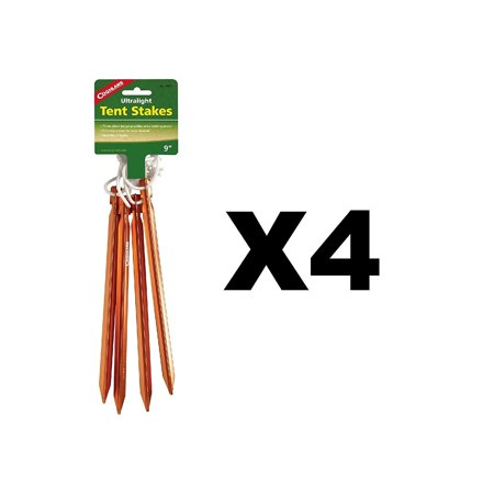 Coghlan's Ultralight Tent Stakes Aluminum w/ Durable Nylon Cord (4-Pack of 4), Made from 6061 Aluminum. By
