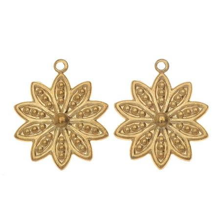Beaded Two Piece (Vintaj Vogue Pendants, Beaded Daisy Petals 19x16mm, 2 Pieces, Raw Brass)