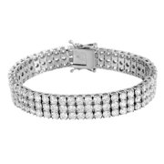Stainless Steel Bracelet White Gold Finish 14K Mens 3 Row Round Cut Lab Created Cubic Zirconias