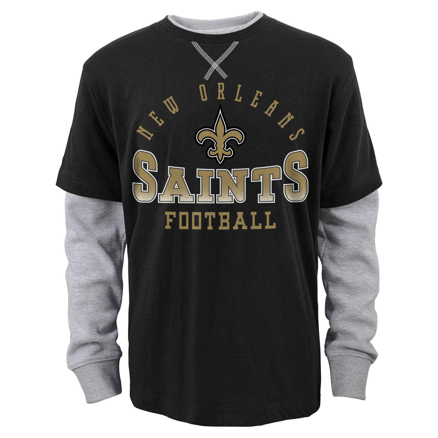 "New Orleans Saints Youth NFL ""Arched Fade"" L S Faux Layer Thermal Shirt by Outerstuff"