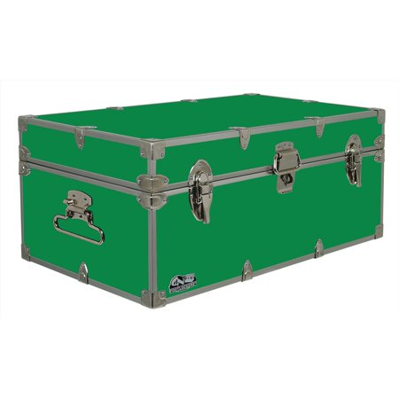 C&N Footlockers Happy Camper Storage Trunk - Summer Camp Chest - Durable with Lid Stay - 32 x 18 x 13.5 Inches - Kelly Green