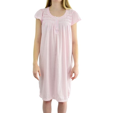 EZI Women's 'Casey' Cap Sleeve Cotton Nightgown - Nightshirt And Cap