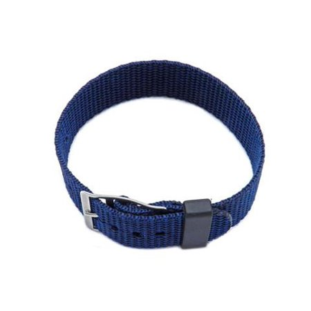 Nylon One Piece Slip Thru 18mm Blue Watch Strap (15mm Nylon Watch Band)
