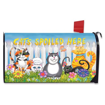 Cats Spoiled Here Spring Magnetic Mailbox Cover Floral Humor Briarwood Lane ()