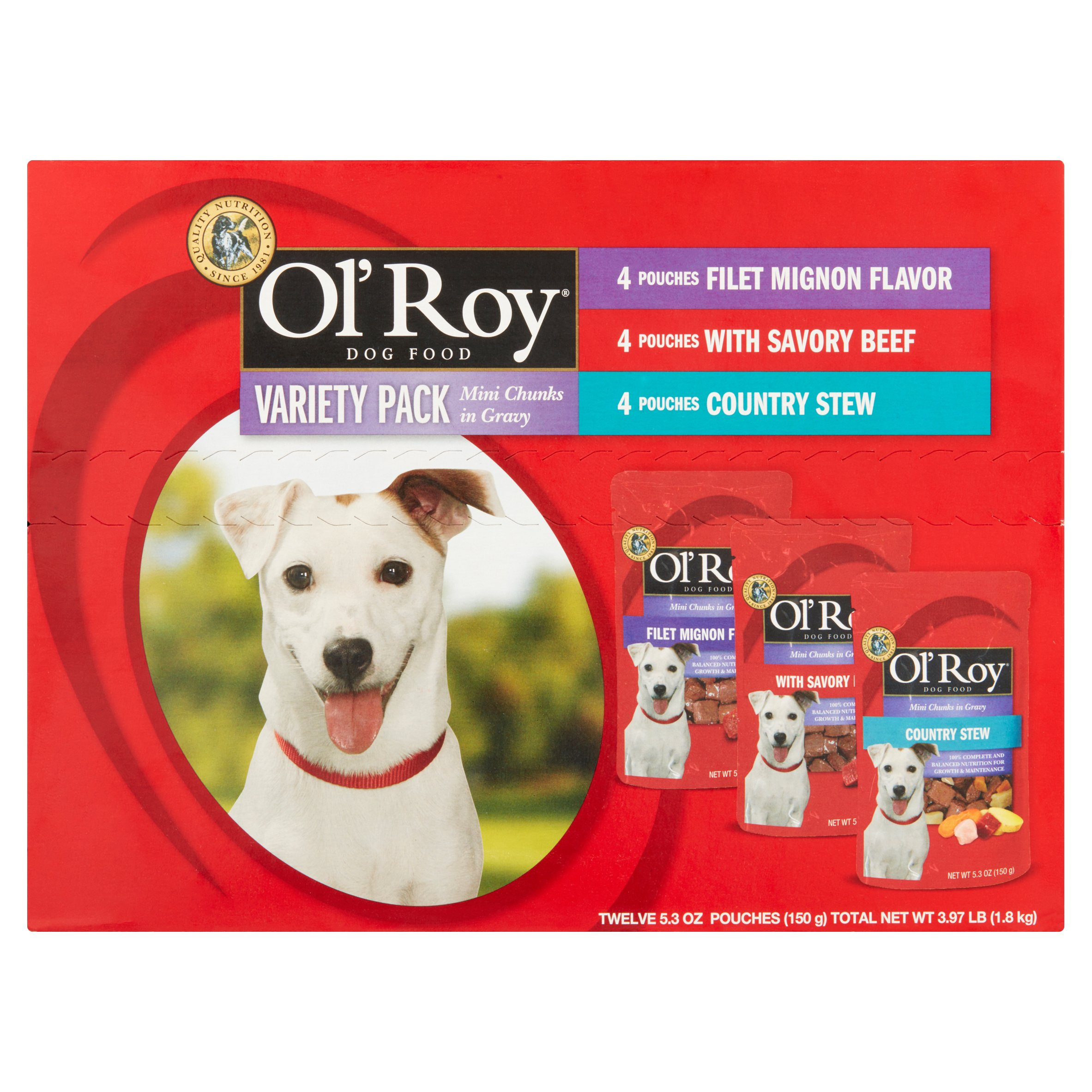 Ol' Roy Variety Pack Mini Chunks in Gravy Wet Dog Food, 5.3 oz, 12 count