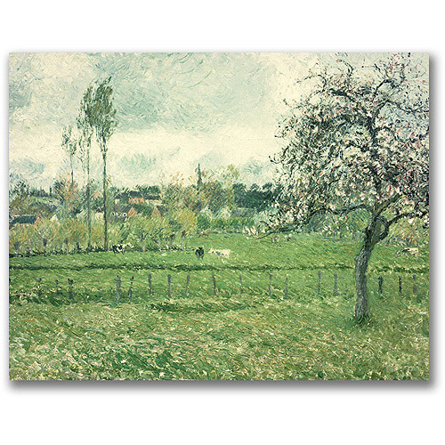 """Trademark Fine Art """"Meadow at Eragny, 1885"""" Canvas Wall Art by Camille Pissaro"""
