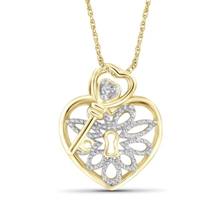 JewelersClub White Diamond Accent Gold over Silver Heart Pendant with Key