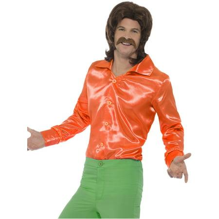 Mens 60s 70s Groovy Dude Orange Disco Shirt Costume