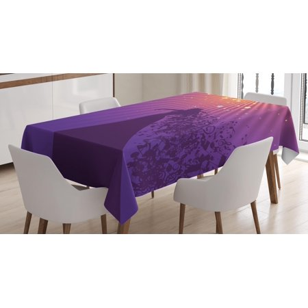 Diva Tablecloth, Silhouette of Woman Opera Singer Singing at the Stage with Hair Like Musical Notes, Rectangular Table Cover for Dining Room Kitchen, 60 X 84 Inches, Multicolor, by Ambesonne
