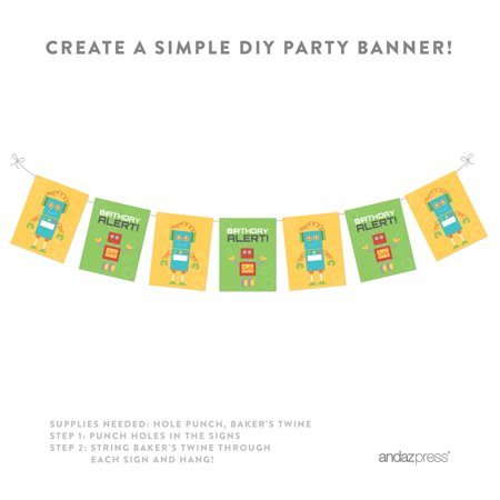 Robot Birthday Party Signs & Banner Decorations, - Birthday Signa