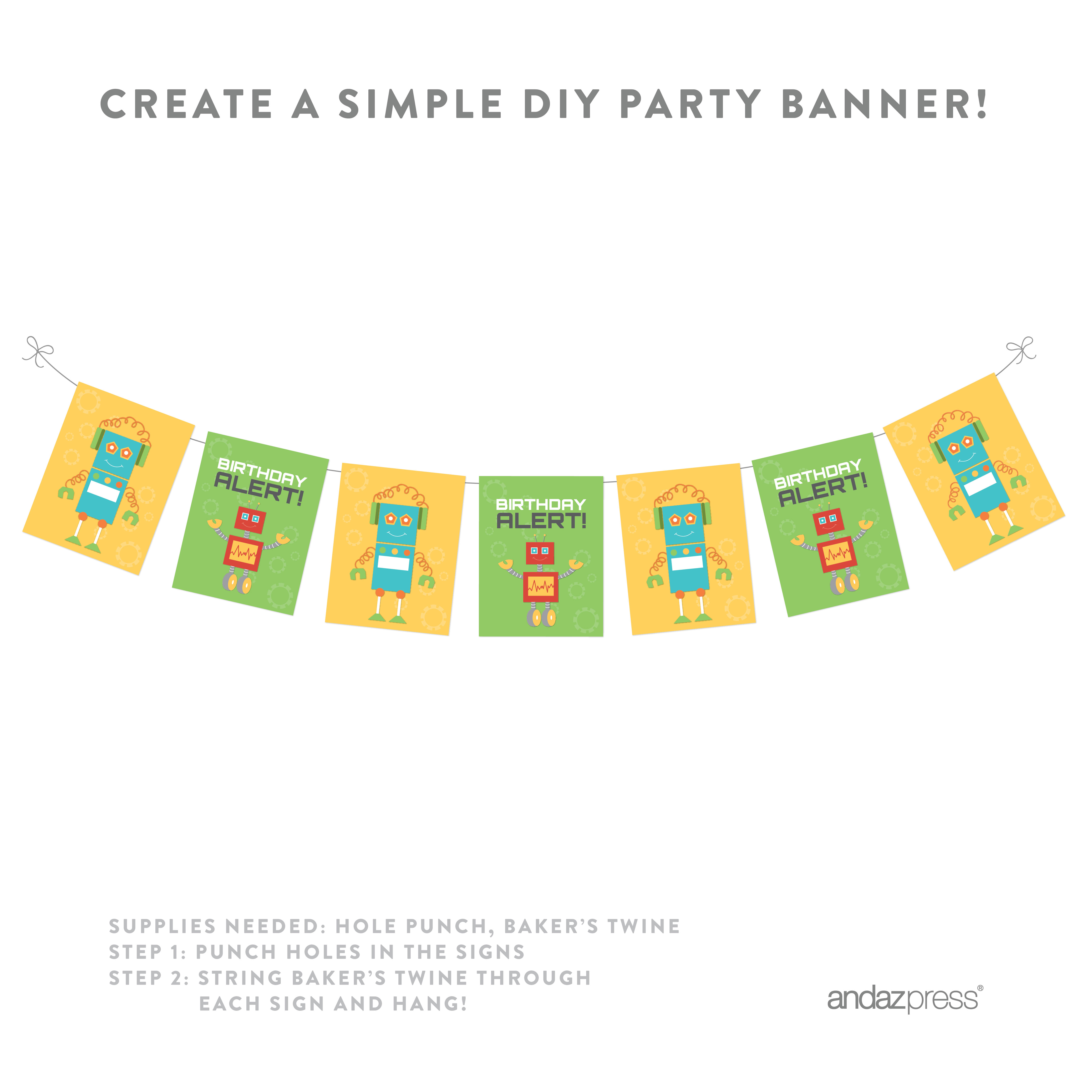 Robot Birthday Party Signs & Banner Decorations, 20-Pack