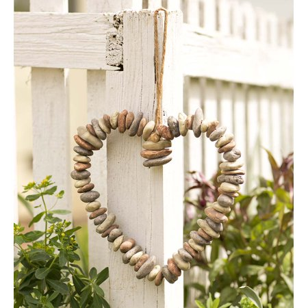 Decorative Indoor/Outdoor Heart-Shaped Wreath of Faux River Rocks - Heart Shaped Wreath Form