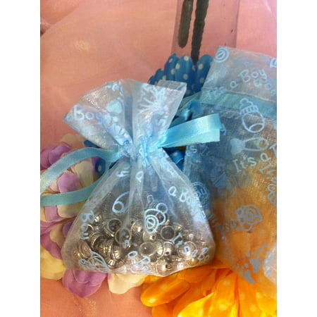 CHARMED Lot of 60 Light Blue Baby Boy Shower Organza Drawstring Favor Bags - Favor For Baby Shower Boy