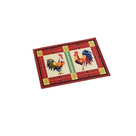 Charming French Country Rooster Accent Rug with Skid-Resistant Backing, 20