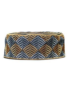 Product Image TheKufi® Black Silver Gold Embroidery Semi-rigid Kufi Hat  Leaf Motif (L- d9f873df79df