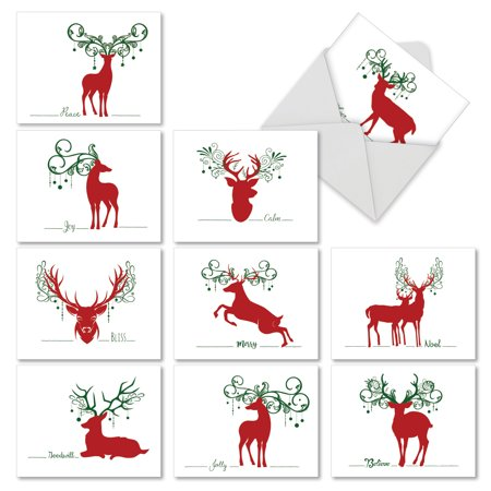 M2937SGG SEASONAL SILHOUETTES' 10 Assorted Seasons Greetings Note Cards Featuring Simple Graphic Images of Deer Combined with Sayings of the Holiday Season, with Envelopes by The Best Card