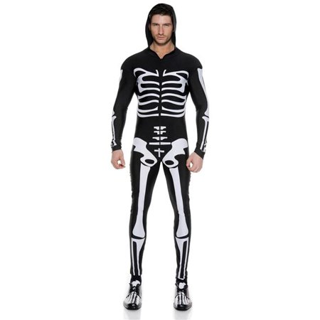 Music Legs 76630-L Skeleton Printed Long Sleeve Zip Up Body Suit with Attached Hood, Large