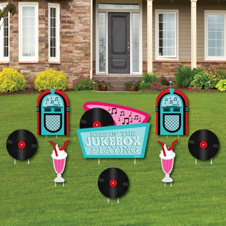 50's Sock Hop - Yard Sign & Outdoor Lawn Decorations - 1950s Rock N Roll Yard Signs - Set of 8 - 50s Sock Hop Decorations