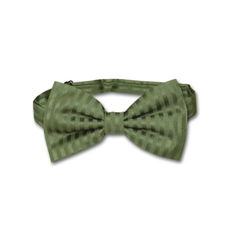 Vesuvio Napoli BOWTie OLIVE GREEN Color Striped Vertical Stripes Men's Bow Tie (Green Bow Ties)