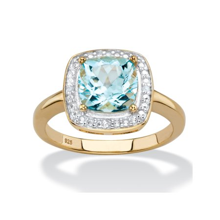 Brilliant Cut Pave Accented Ring (2.62 TCW Genuine Cushion-Cut Sky Blue Topaz and Diamond Accent Pave-Style Halo Ring in 14k Yellow Gold over Sterling Silver)