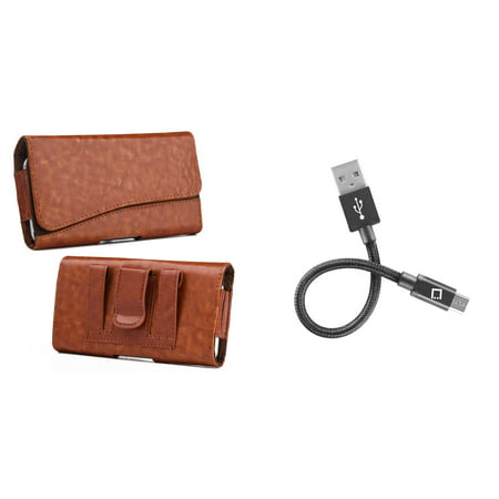 Bemz Accessory Bundle for Nokia 2V (Verizon) - Executive PU Leather Holster Card Slot Carrying Case (Brown) with Mini Micro USB Charger Cable (4 inches) and Atom Cloth