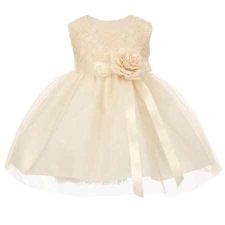 Baby Girls Ivory Two Tone Lace Satin Ribbons Corsage Flower Girl Dress 6M