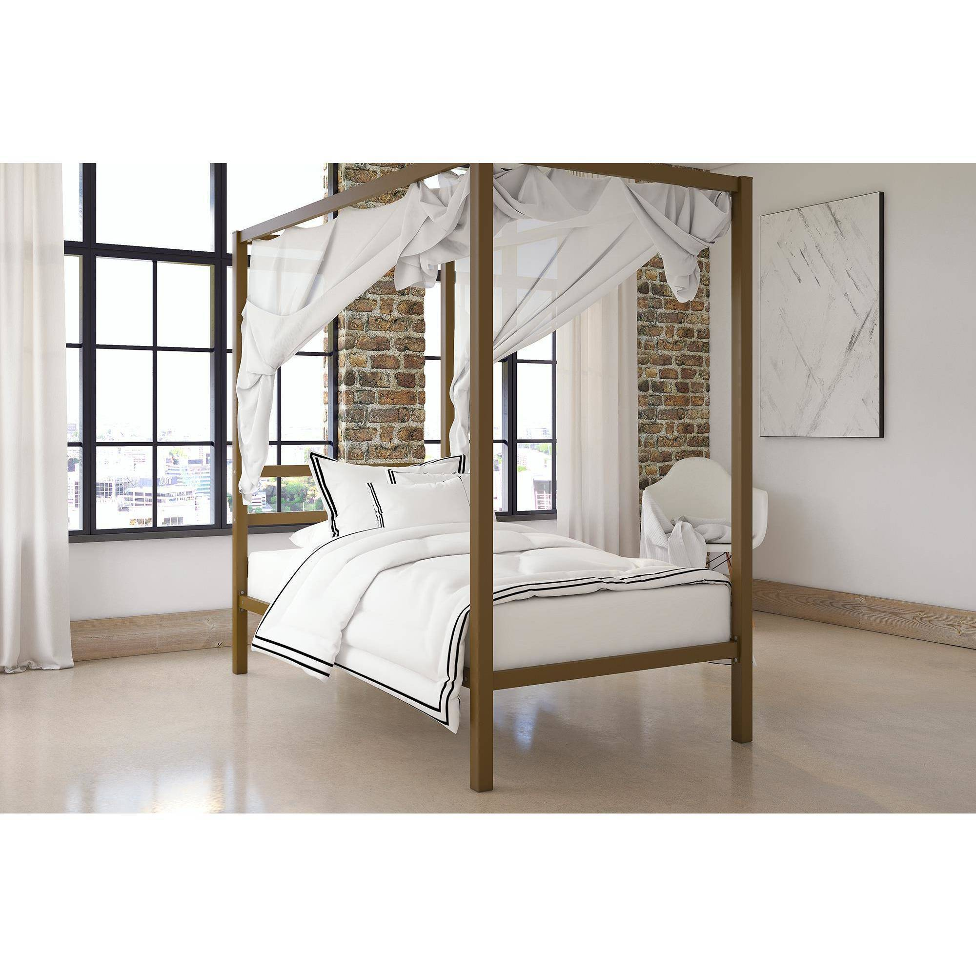 Metal Canopy Bed Frame Twin Size With Headboard Platform Modern ...
