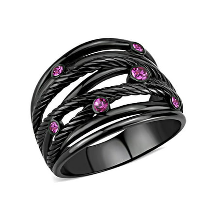 Top Grade Fuchsia Crystal Designer Black IP Stainless Steel Womens Fashion Band - Size 5