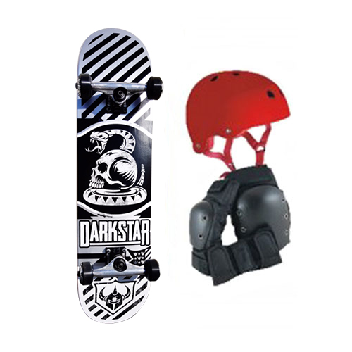 Freshpark FRESH Pad Action Sports Helmet and Darkstar Skateboard Kit
