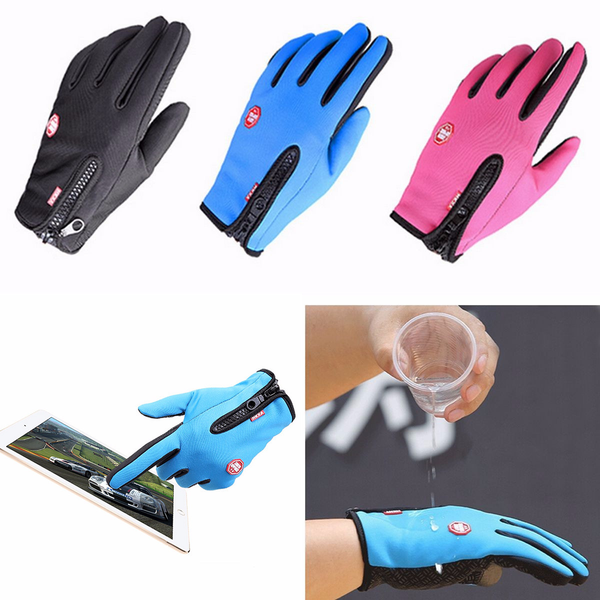 Unisex Warm Windproof Waterproof Touch Screen Gloves Mittens Fleece Outdoor Cycling Skiing Skid-proof