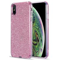 iPhone Xs Max Case, Nakedcellphone [Sparkling Glitter Dazzle] Clear Hybrid Bling Skin Cover for Apple iPhone Xs Max (10s Max)