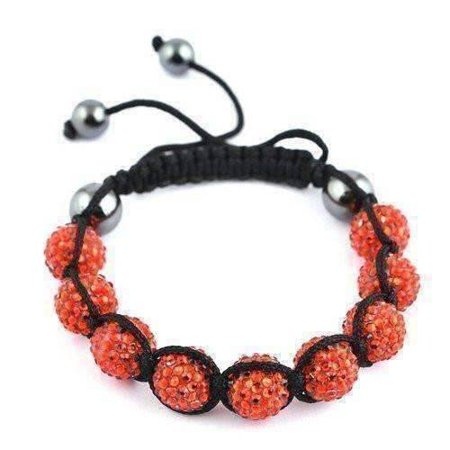 ON SALE - Sparkly Orange Crystals Hand Made Shamballa Bracelet Orange