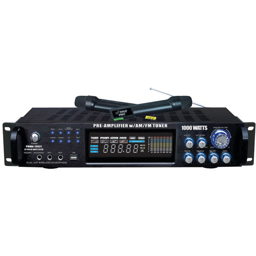 Pyle Pro PWMA1003T 1,000W Hybrid Pre-Amplifier and Wireless Microphone System