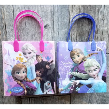 12 Frozen Party Favor Bags Birthday Candy Treat Favors Gifts Plastic Bolsas De Recuerdo - Frozen Goodie Bags