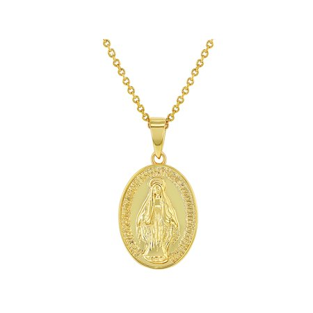 18k Gold Plated Little Oval Miraculous Virgin Mary Medal Necklace Pendant 19