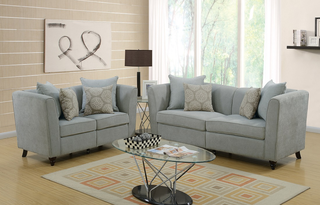 Exceptional New Living Room Modern Unique Velveteen Fabric 2pcs Sofa Set Taupe Color  Sofa Love Seat