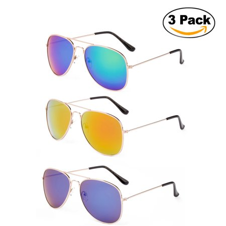 Newbee Fashion - 2 Pack & 3 Pack Classic Aviator Sunglasses Flash Full Mirror lenses Metal Frame for Men Women UV Protection