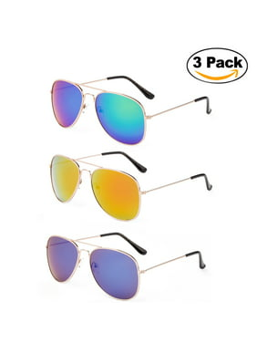1a2ba2fdd12 Product Image Newbee Fashion - 2 Pack   3 Pack Classic Aviator Sunglasses  Flash Full Mirror lenses Metal