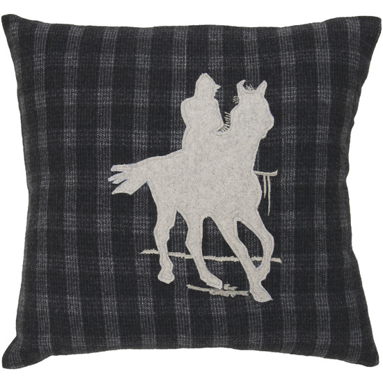 """18"""" Country Horse and Cowboy Silhouette on Plaid Decorative Throw Pillow"""