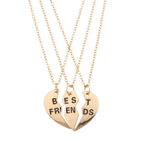 Lux Accessories Best Friends BFF Forever Heart 3 PC Necklace