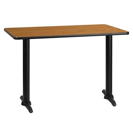 30'' x 45'' Rectangular Natural Laminate Table Top with 5'' x 22'' Table Height Bases (Rectangular Natural Base)