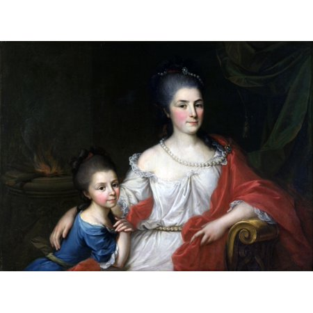 Portrait Of Bianca Ferrari Visconti With Her Daughter Elena Canvas Art - (36 x 24)