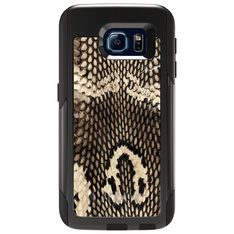 DistinctInk™ Custom Black OtterBox Commuter Series Case for Samsung Galaxy S6 - Brown Tan Snake Skin Texture