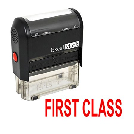 FIRST CLASS Self Inking Rubber Stamp - Red Ink (42A1539WEB-R) (First Aid Rubber Stamp)