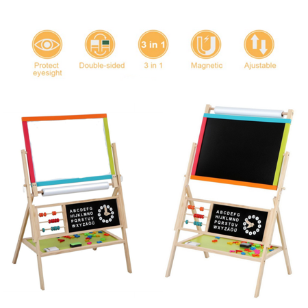 3 in 1 Wooden Kids Easel Double-Sided Magnetic Drawing Board Whiteboard & Chalkboard Dry Easel with Paper Roll, Magnetic Letters,Beads, Chalk for Writing Kids Boys Girls (Double Sided Reversible Chalkboard)