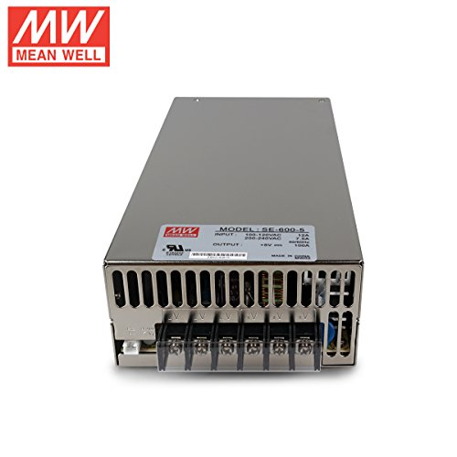 0-100A Single Output 2.5 H x 5.0 W x 9.7 L Mean Well SE-600-5 Enclosed Switching AC-to-DC Power Supply 5V 500W