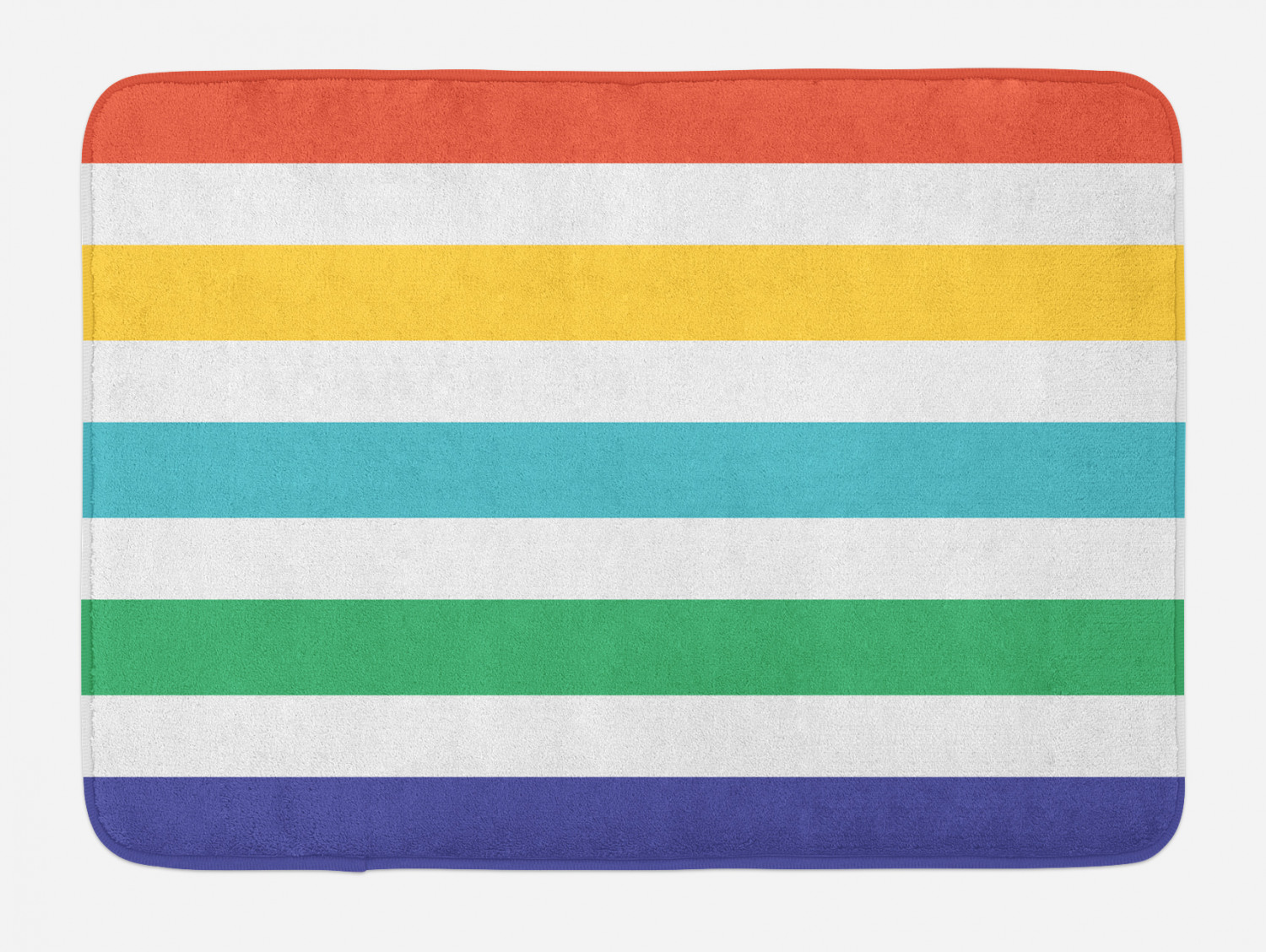 Striped Bath Mat Rainbow Colored And White Fun Horizontal Lines Kids Room Red Yellow Blue Green Art Non Slip Plush Mat Bathroom Kitchen Laundry Room Decor 29 5 X 17 5 Inches Multicolor Ambesonne